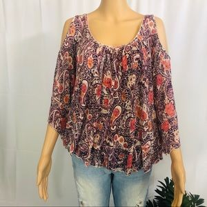 FP Free People Paisley cold shoulder Top XS